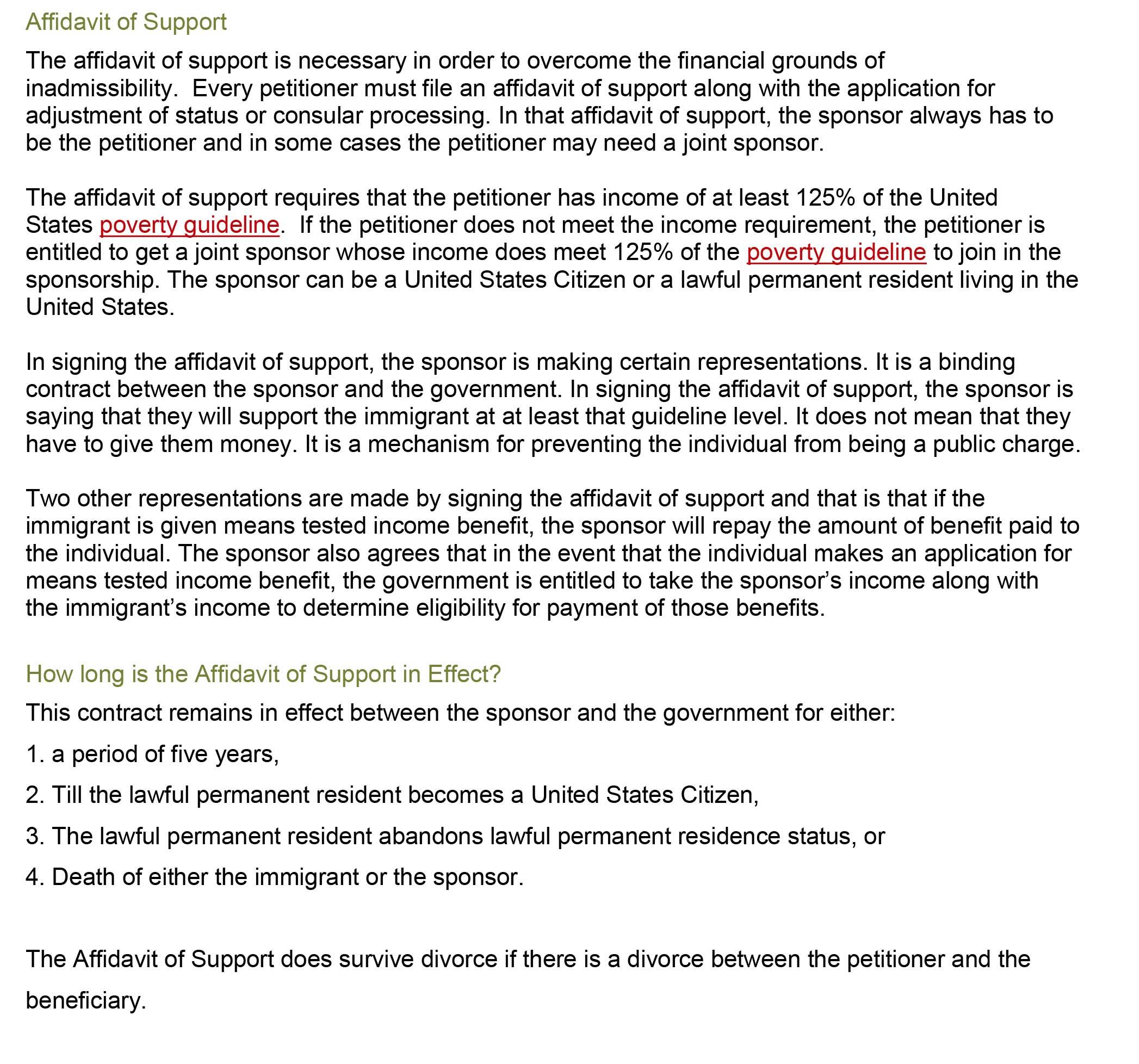 Affidavit of Support Houston TX – Affidavit of Support